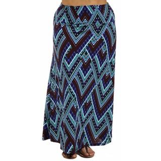 24/7 Comfort Apparel Women's Plus Size Blue Triangular Mosaic Maxi Skirt