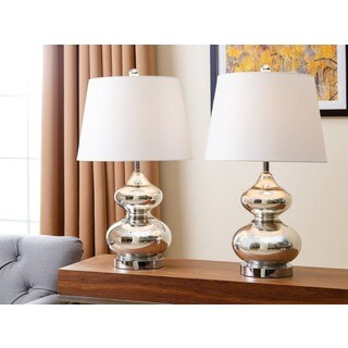 ABBYSON LIVING Sophia Silver Chrome Glass Table Lamp (Set of 2)