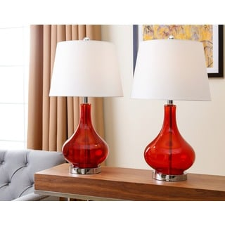 ABBYSON LIVING Luciana Red Glass Table Lamp (Set of 2)