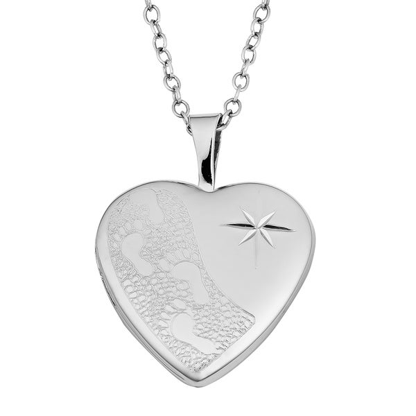 Fremada Sterling Silver Heart with Crystals Accent Locket Necklace