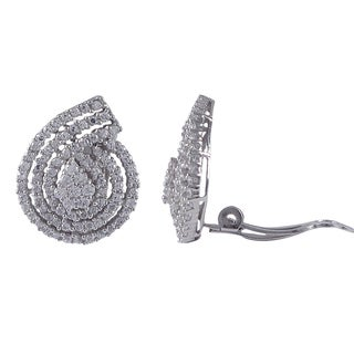 Sterling Silver Pave Cubic Zirconia Teardrop Spiral Clip-on Earrings