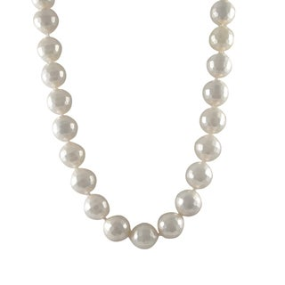 Sterling Silver Faceted White 14-mm Shell Pearl Strand Necklace