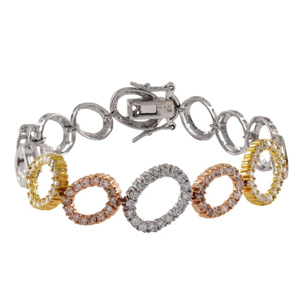 Luxiro Sterling Silver Tri-color Cubic Zirconia Open Ovals Bracelet 15711434