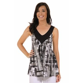 24/7 Comfort Apparel Women's Gray Scale Brush Pattern Top