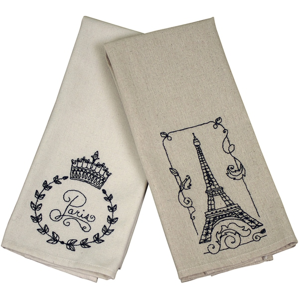 French Market Tea Towel 40 Count 15inX25in Natural Light