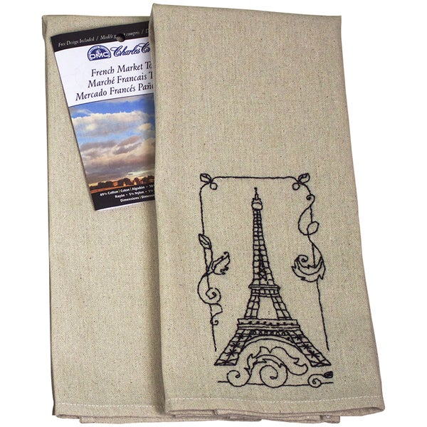 French Market Tea Towel 40 Count 15inX25in Natural Medium