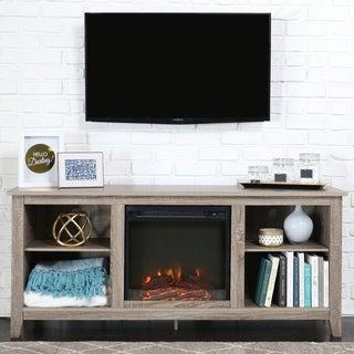 Porch & Den Roosevelt Driftwood 58-inch Fireplace TV Stand Console