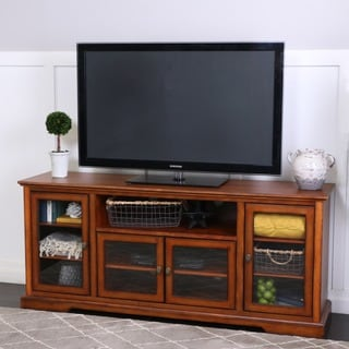 "70"" Rustic Brown Wood Highboy Style TV Stand"