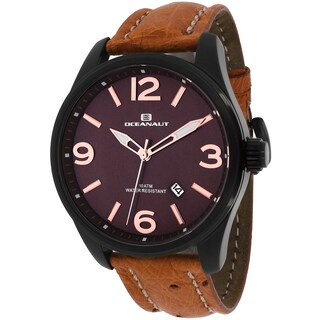 Oceanaut Men's OC8112L Military Round Brown Leather Strap Watch