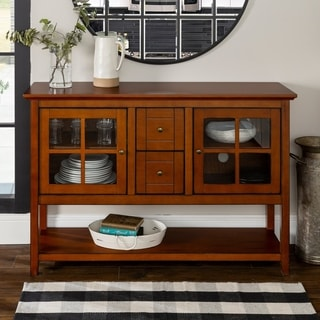 "52"" Rustic Brown Wood Console Table TV Stand"