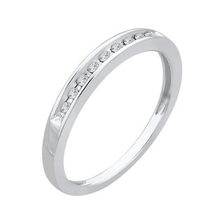 10k White Gold 1/10ct TDW Diamond Wedding Band (K-L, I3 )