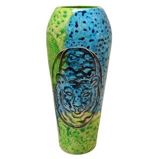 Handcrafted Soapstone Bahari Tiger Oblong Vase (Kenya)