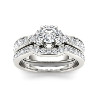 De Couer 14k White Gold 1 5/8ct TDW Diamond Classic Engagement Ring Set (H-I, I2)