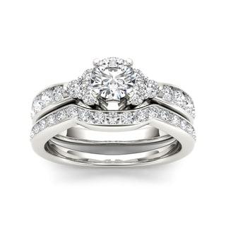 De Couer 14k White Gold 1 5/8ct TDW Diamond Classic Engagement Ring Set (H-I, I2)