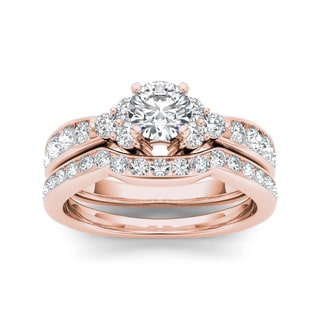 De Couer 14k Rose Gold 1 5/8ct TDW Diamond Classic Engagement Ring Set (H-I, I2)