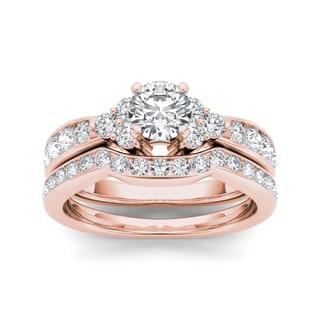 De Couer 14k Rose Gold 1 5/8ct TDW Diamond Classic Engagement Ring Set (H-I, I2)
