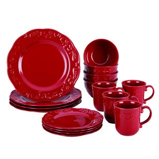 BonJour Dinnerware Spiceberry 16-Piece Stoneware Dinnerware Set, Holiday Red