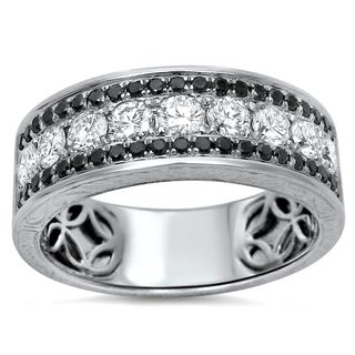 Noori 14k White Gold Men's 1 1/2ct TDW Certified Black Diamond Wedding Band