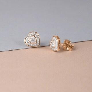 De Couer 10k Rose Gold 1/20ct TDW Diamond Heart Earrings (H-I, I2)
