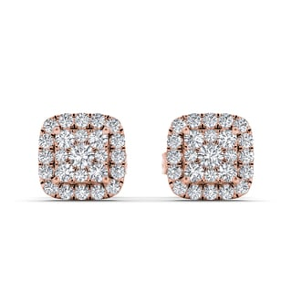 De Couer 10k Rose Gold 1/2ct TDW Diamond Cluster Halo Earrings (H-I, I2)