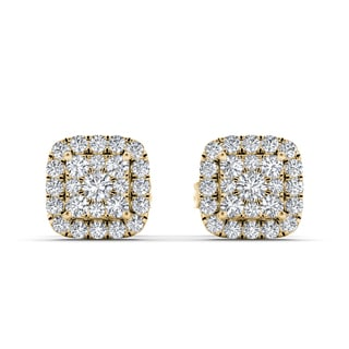 De Couer 10k Yellow Gold 1/2ct TDW Diamond Cluster Halo Earrings (H-I, I2)