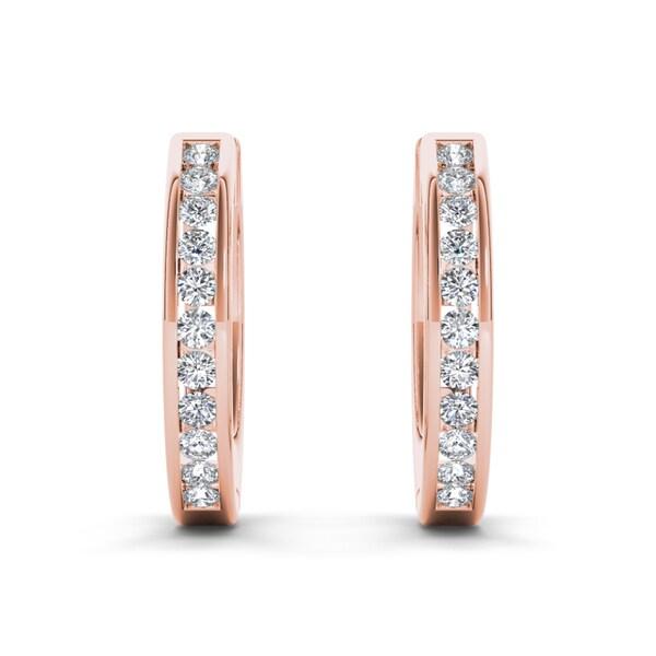 De Couer 10k Rose Gold 1/3ct TDW Diamond Hoop Earrings (H-I, I2)