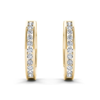 De Couer 10k Yellow Gold 1/3ct TDW Diamond Hoop Earrings (H-I, I2)