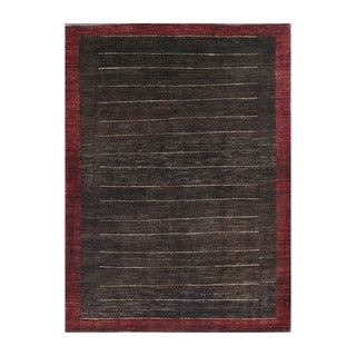Herat Oriental Afghan Hand-knotted Tribal Vegetable Dye Gabbeh Black/ Red Wool Rug (5' x 6'9)