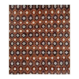 Herat Oriental Afghan Hand-knotted Tribal Vegetable Dye Gabbeh Light Brown/ Chocolate Brown Wool Rug (8'3 x 9'3)