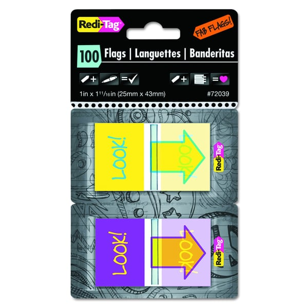 """Redi-Tag Pop-Up """"Look"""" Fab Purple/Yellow/Yellow/Teal Page Flags w/Dispenser (Pack of 100 Flags)"""