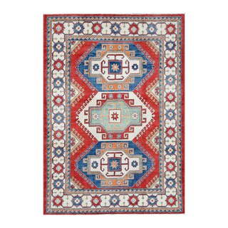 Herat Oriental Afghan Hand-knotted Tribal Vegetable Dye Kazak Red/ Ivory (5'9 x 8'4)