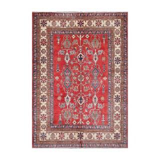 Herat Oriental Afghan Hand-knotted Tribal Vegetable Dye Kazak Red/ Ivory Wool Rug (6'3 x 8'9)