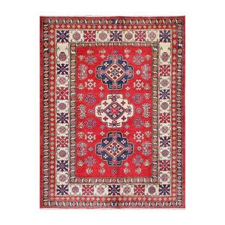 Herat Oriental Afghan Hand-knotted Tribal Vegetable Dye Kazak Red/ Ivory Wool Rug (6'4 x 8'5)