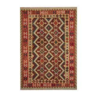 Herat Oriental Afghan Hand-woven Tribal Vegetable Dye Kilim Rust/ Red Wool Rug (6' x 8'6)