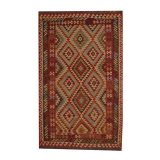 Herat Oriental Afghan Hand-woven Tribal Vegetable Dye Kilim Rust/ Brown Wool Rug (5'6 x 8'5)