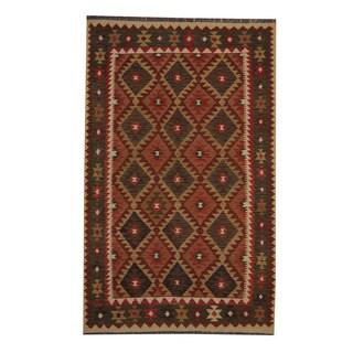 Herat Oriental Afghan Hand-woven Tribal Vegetable Dye Kilim Dark Rust/ Green Wool Rug (5'2 x 8'3)