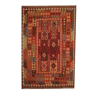 Herat Oriental Afghan Hand-woven Tribal Vegetable Dye Kilim Red/ Rust Wool Rug (5'6 x 8'4)