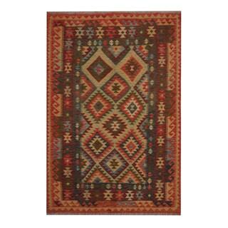 Herat Oriental Afghan Hand-woven Tribal Vegetable Dye Kilim Light Green/ Dark Rust Wool Rug (5'5 x 8')
