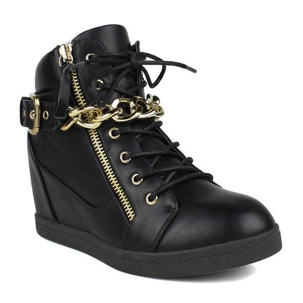 Fahrenheit Women's Lace-up Chain Detail Women's Wedge Sneakers