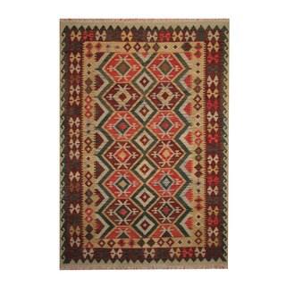 Herat Oriental Afghan Hand-woven Tribal Vegetable Dye Kilim Rust/ Green Wool Rug (6' x 8'6)