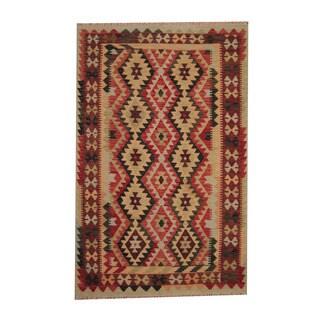 Herat Oriental Afghan Hand-woven Tribal Vegetable Dye Kilim Rust/ Dark Rust Wool Rug (5'4 x 8'4)