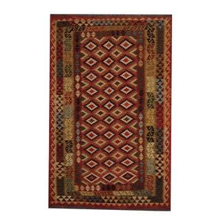 Herat Oriental Afghan Hand-woven Tribal Vegetable Dye Kilim Rust/ Olive Wool Rug (5'6 x 8'7)
