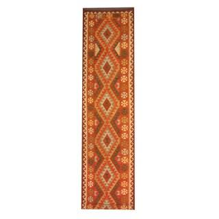 Herat Oriental Afghan Hand-woven Tribal Vegetable Dye Kilim Rust/ Ivory Wool Rug (2'9 x 13'7)