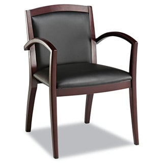 Alera Reception Lounge Series Mahogany/Black Leather Guest Chair