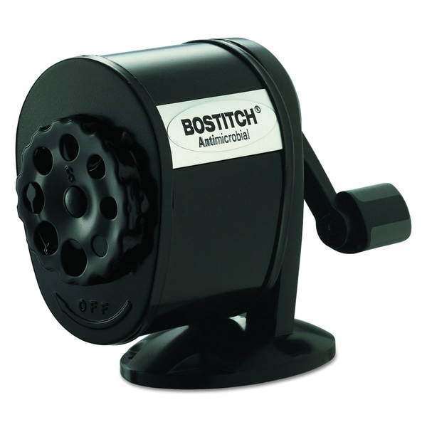 Bostitch Counter-Mount/Wall-Mount Antimicrobial Manual Black Pencil Sharpener