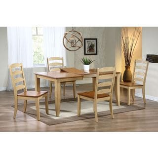 Iconic Furniture 5-piece Honey Sand Rectangle Ladder Back Dining Set