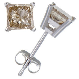 14k Gold 1/2ct TDW Princess-cut Champagne Diamond Stud Earrings