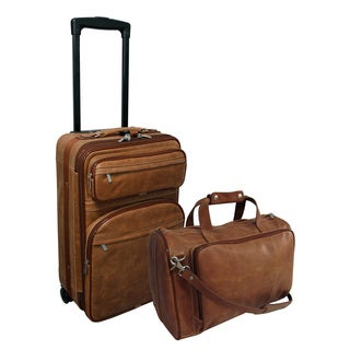 Amerileather Vintage Tan Leather Two Piece Luggage Set