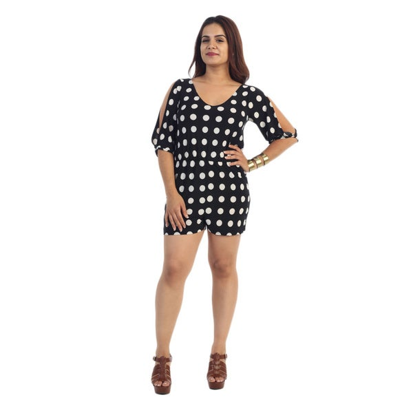 Women's Black/ White Polka Dot Plus Size Short Romper