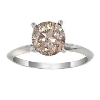 14K White Gold 1 CT TDW Champagne Diamond Solitaire Ring